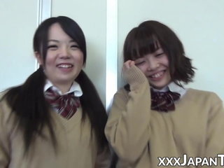 Schoolgirl from Japan farting into girlfriends cute face