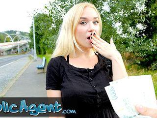 Public Agent platinum-blonde nubile Russian Vera Jarw fucked outside