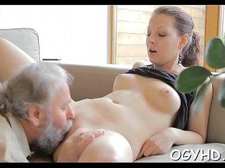Juvenile nympho licks old belt dick