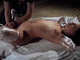 Raunchy restrain bondage spanking her coochie and the victim bellows
