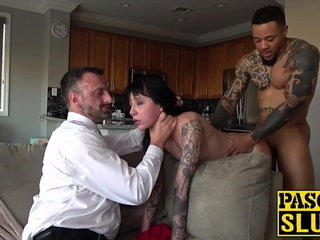 Obedient darker female ferociously banged by two dominant folks