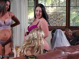 GIRLSWAY Angela Blanched Turns This Absent oneself from Troop Into A Foursome